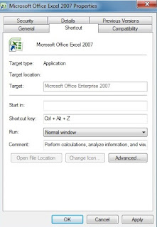 Assign a new keyboard shortcut key to open Ms-Excel