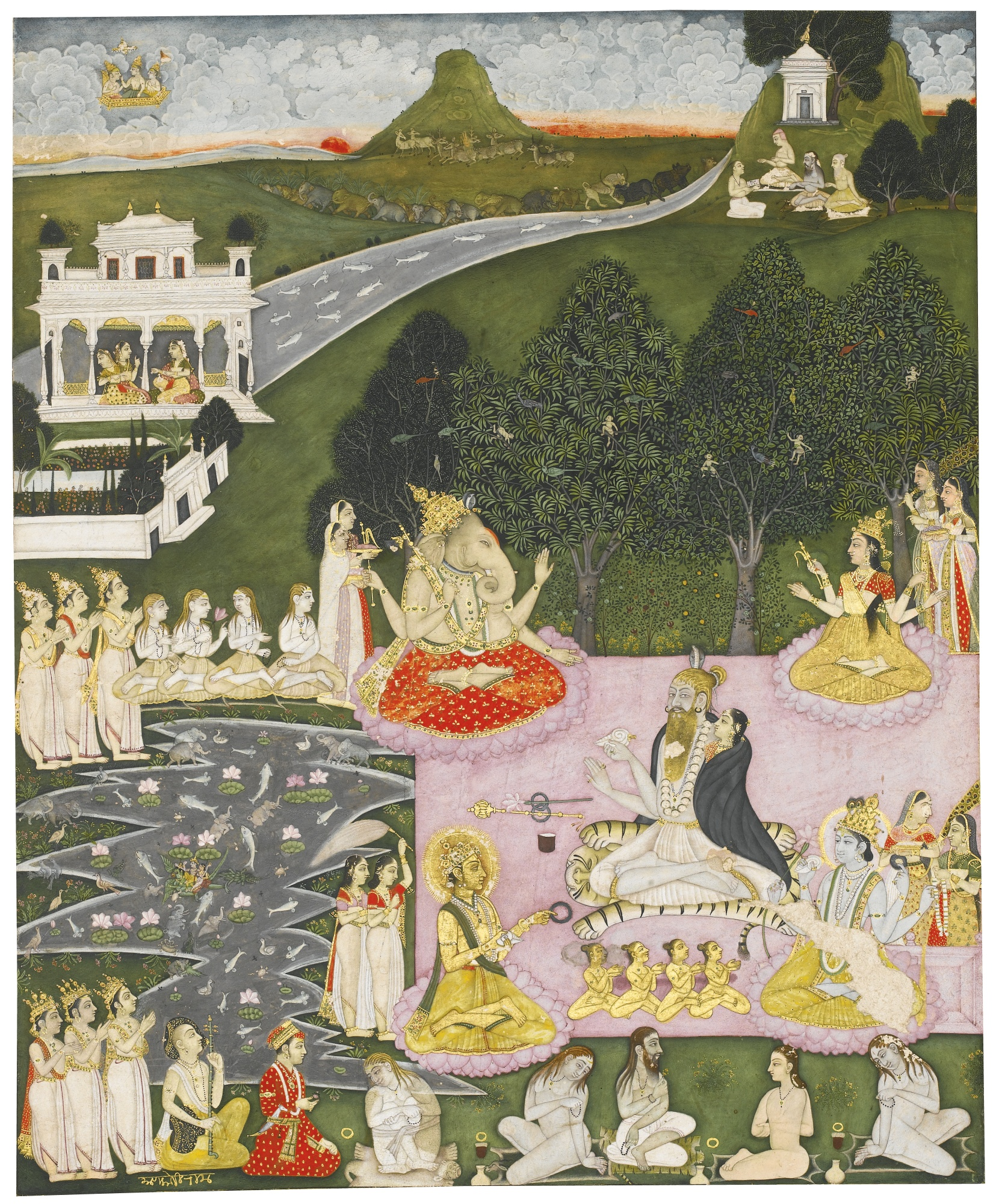 An Assembly of Hindu gods, Ascetics and Worshippers - Deccan Painting, Hyderabad or Bidar, early 18th century