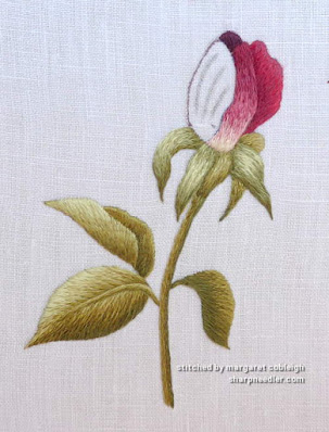 Results from re-embroidering a thread painted rosebud petal (design by Trish Burr)