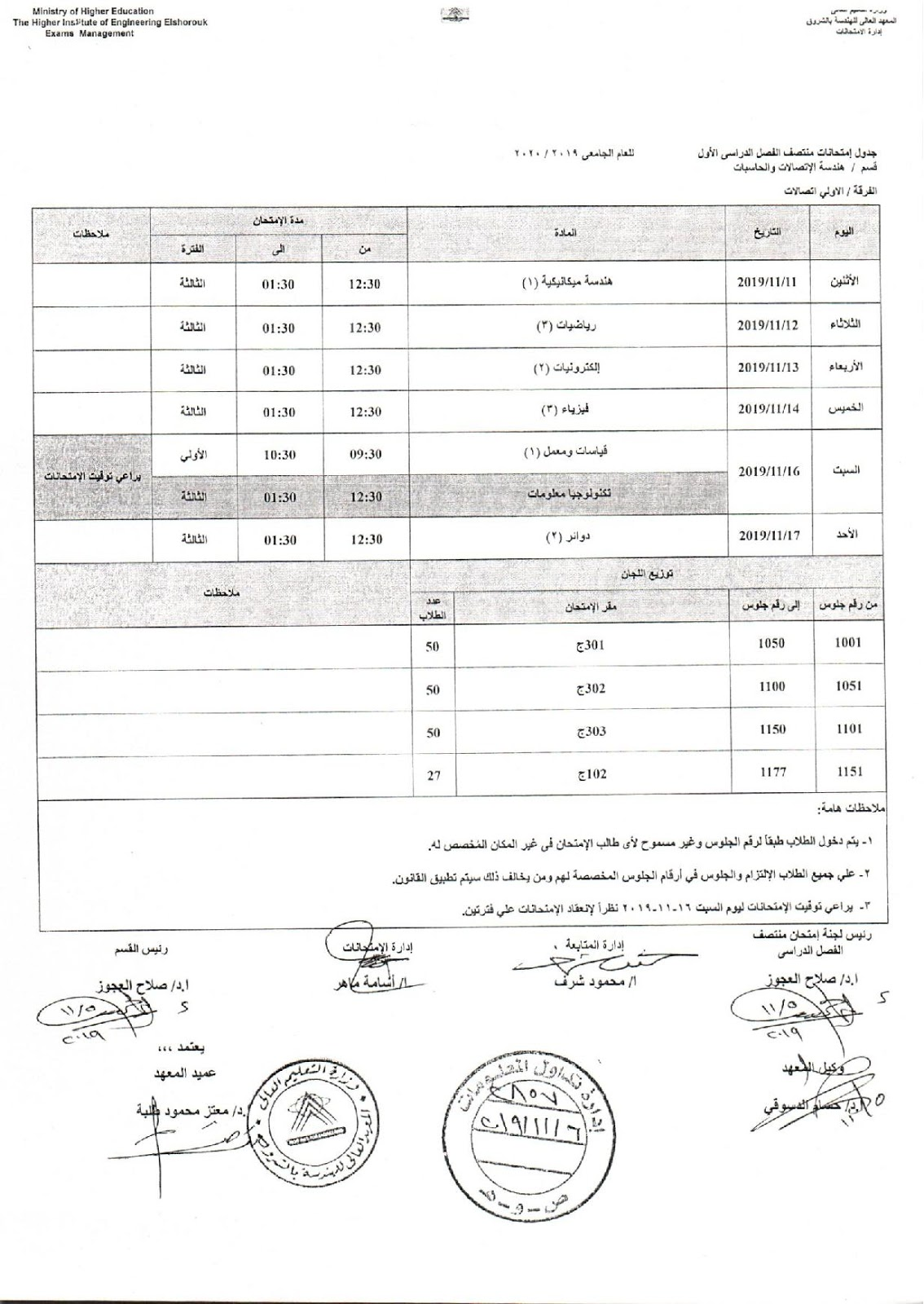 جدول امتحانات اولي اتصالات هندسة الشروق الميدترم 2019-2020