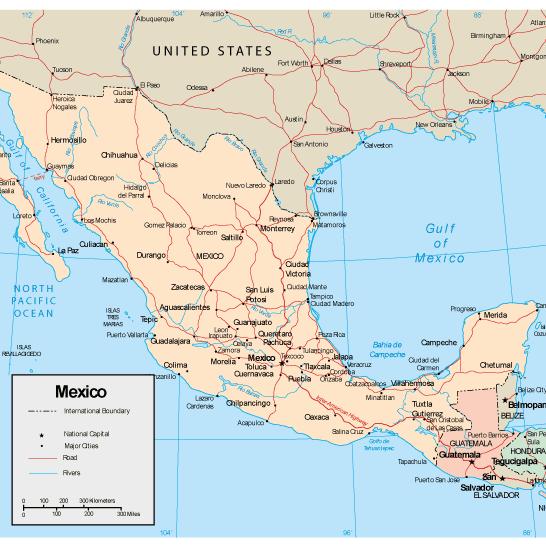 Mapa físico de México editable - Vector