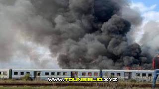(بالفيديو و الصور) حالة من الهلع في صفوف المسافرين إثر اندلاع النار في جزء حديدي من مترو الساحل
