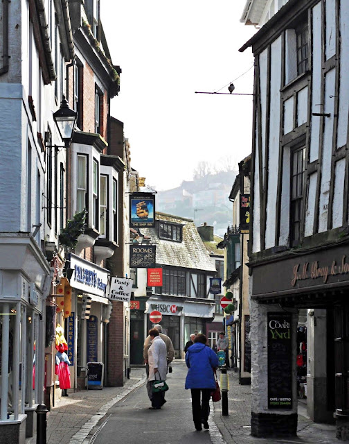 Shops and narrow roads in Looe, Cornwall