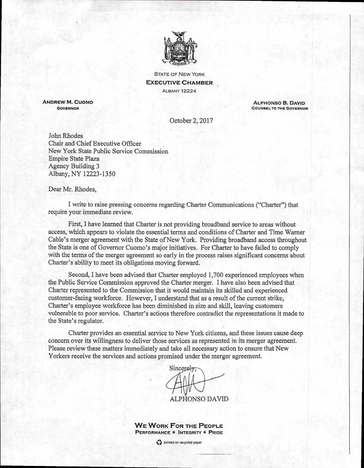 New york albany county albany 12224 - A Letter To The N Y S Public Service Commission Concerning Charter Spectrum
