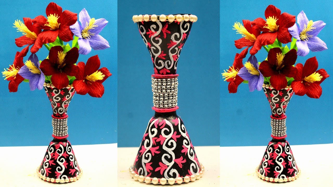 How To Make Flower Vase With Plastic Bottles Paper