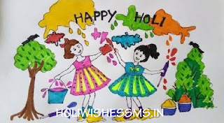 holi festival drawing for kids