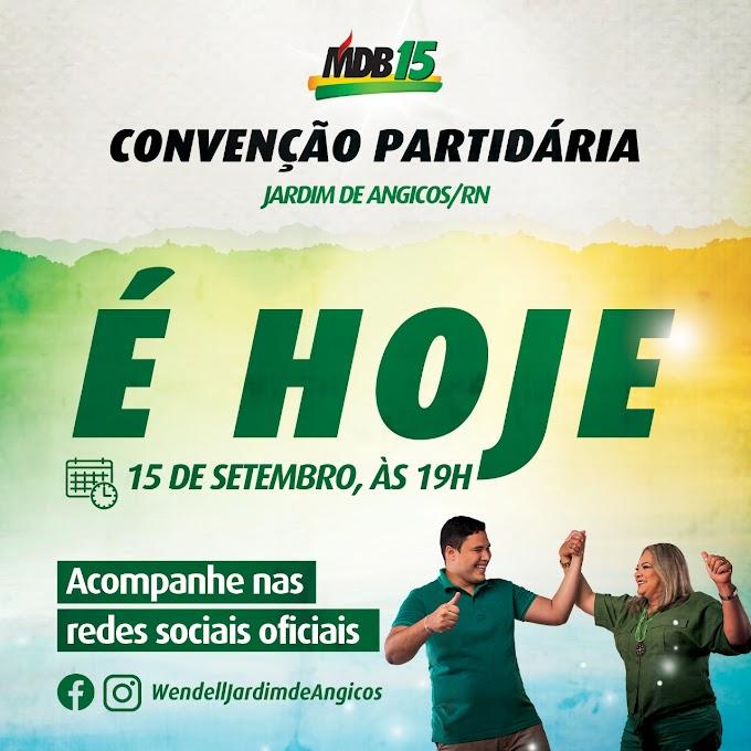 Convenção partidária do MDB de Jardim de Angicos será nesta terça (15), a partir das 19H