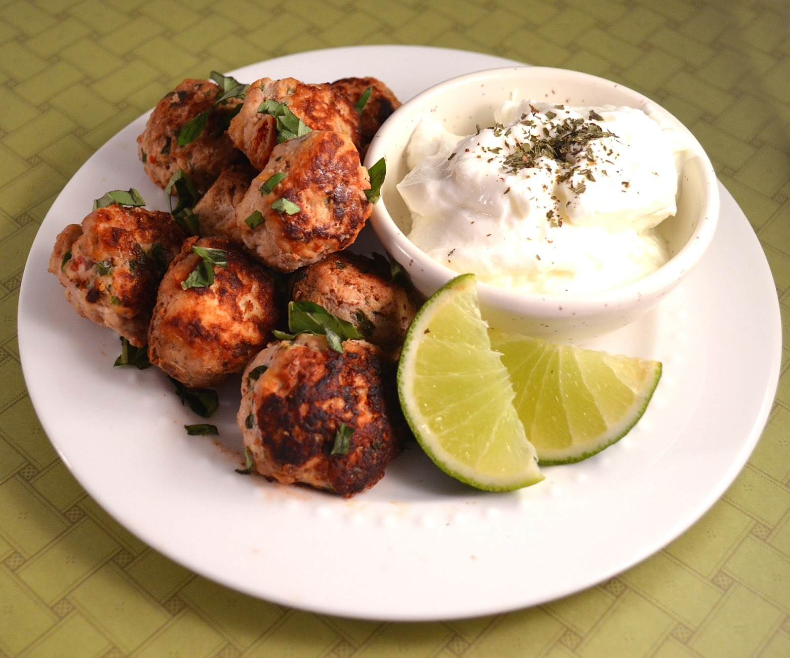 Sew French Persian Meatball Poppers With Lime Whipped Yogurt