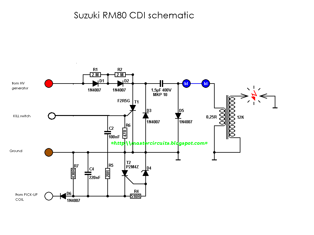 This is another AC-CDI schematic, without an MCU that can adjust the  advance curve or mapping of the ignition timing. The circuit is not that  difficult to ...