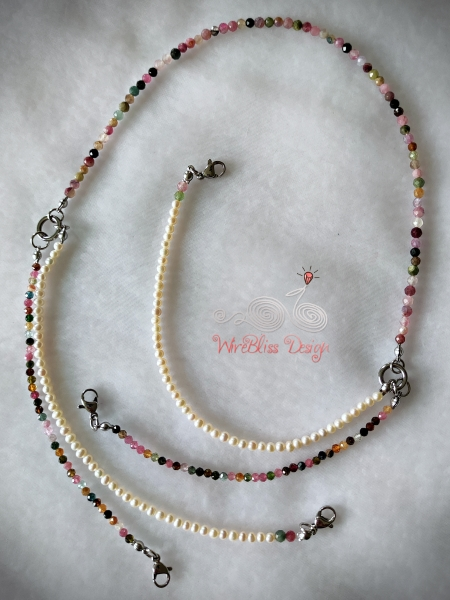 Tourmaline and Pearl Face Mask, Eyeglasses Strap unhooked