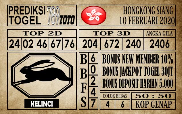 Prediksi Togel 789toto Hongkong Senin 10 Februari 2020