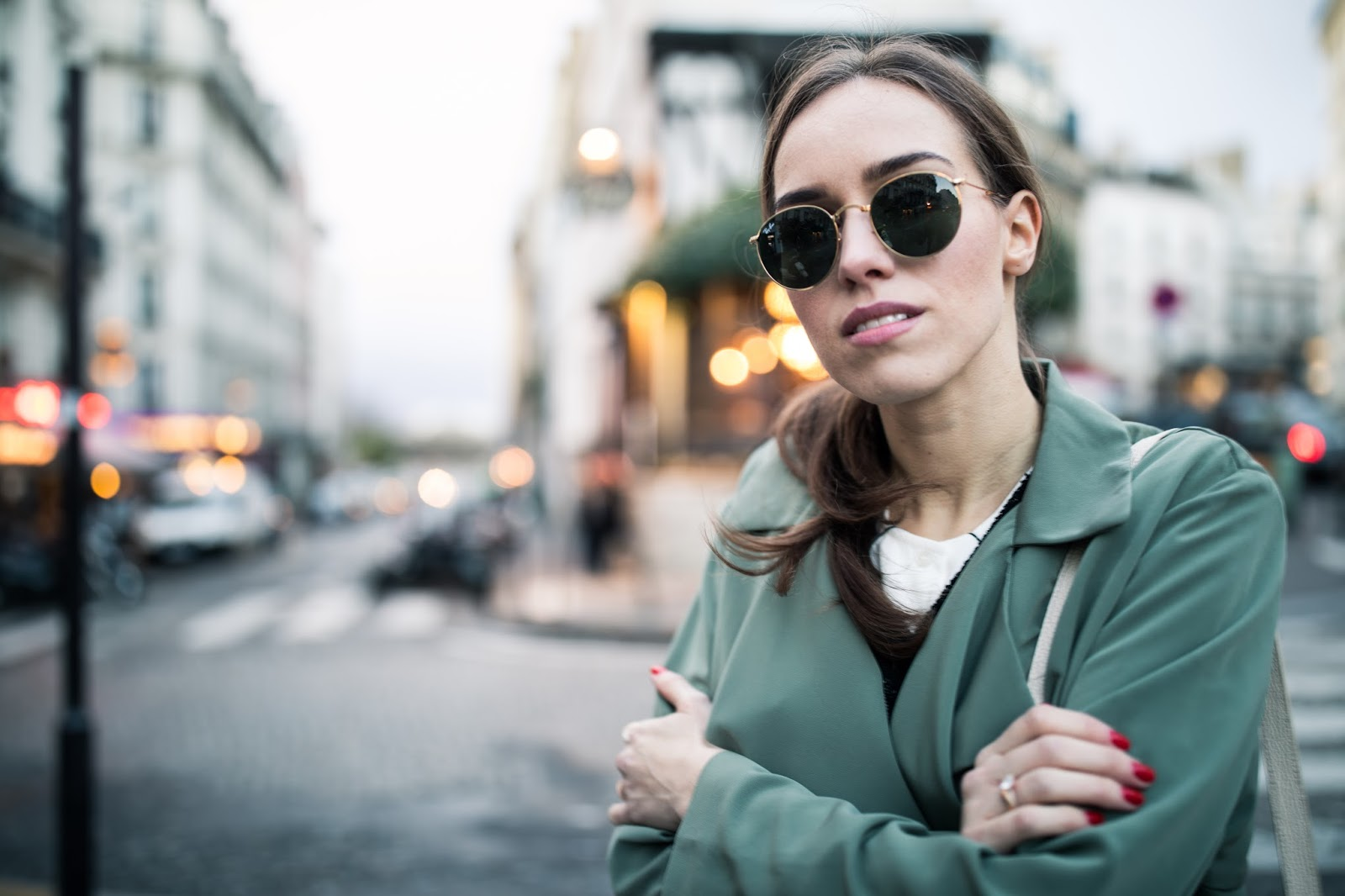 ray-ban round sunglasses outfit
