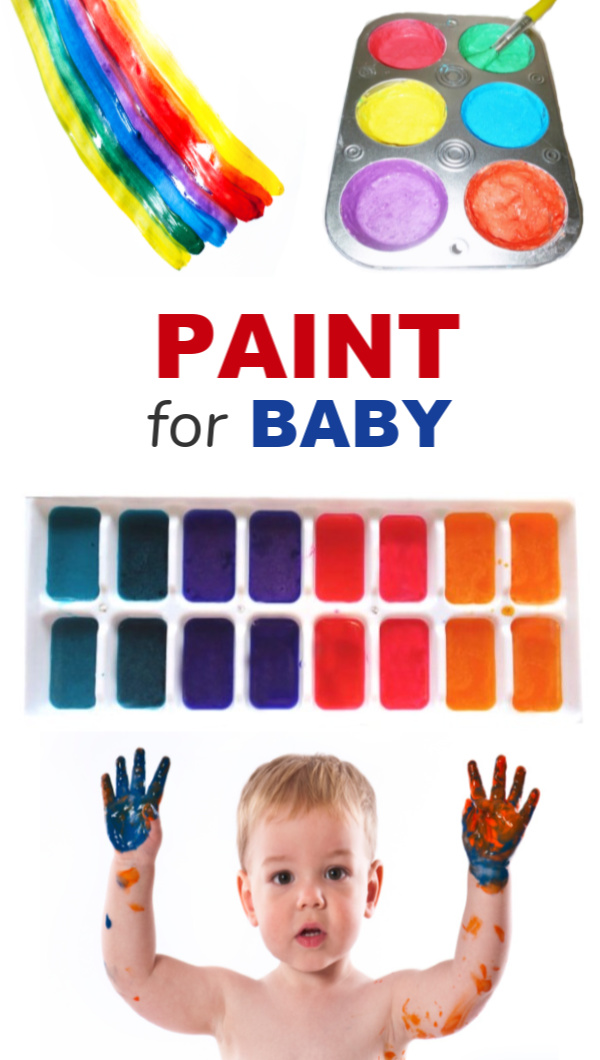 Let baby safely create and play with this collection of taste-safe paint recipes.  I absolutely love these baby painting ideas! #babypaintingideas #babypainting #babypaint #tastesafepaint #tastesafepaintforbabies #ediblepaint #homemadepaint #homemadepaintkids #growingajeweledrose
