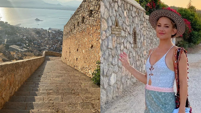 Η διάσημη ηθοποιός Κέιτ Χάντσον ανέβηκε στο Παλαμήδι και διαφημίζει το Ναύπλιο σε όλο τον κόσμο