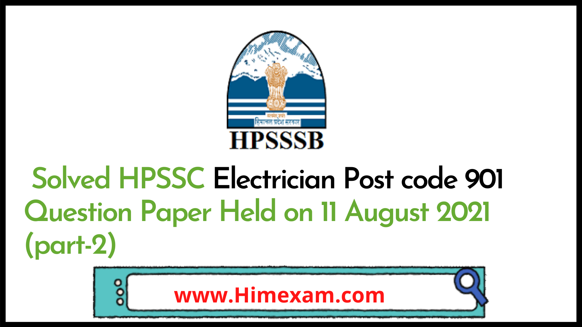 Solved HPSSC Electrician Post code 901 Question Paper Held on 11 August 2021 (part-2)