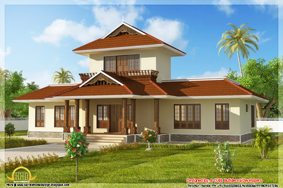 1947 square feet 3 bedroom Kerala style home left side view - May 2012