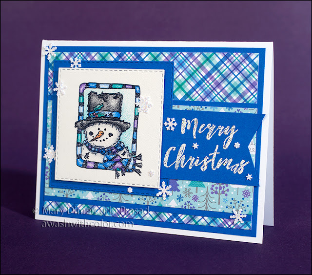 Rubbernecker Stamps Frosty in Frame using Faber-Castell Polychromos