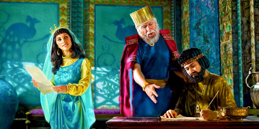 Esther and Mordecai dictate the second proclamation.