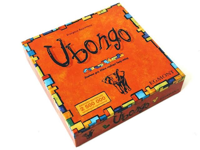 na zdjęciu pudełko gry ubongo w kolorze pomarańczowym z wizerunkiem słonia
