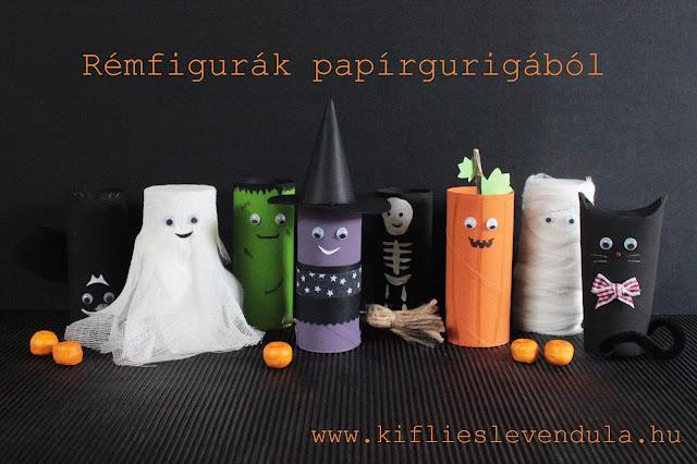 Animales y personajes típicos de Halloween creados con rollos de cartón.