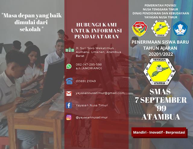 SMA7 September '99 Atambua membuka pendaftaran siswa/i baru T.A 2021/2022