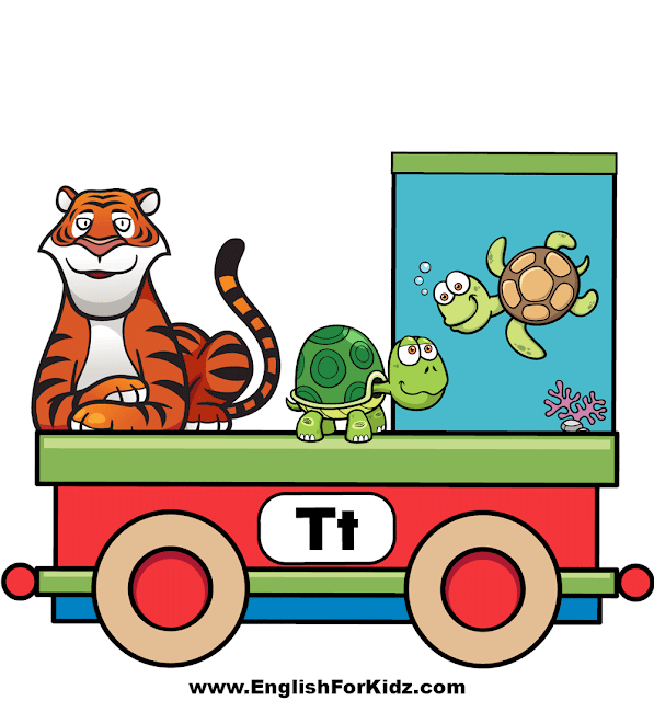 Letter T is for tiger, tortoise and turtle - ABC train wall decor