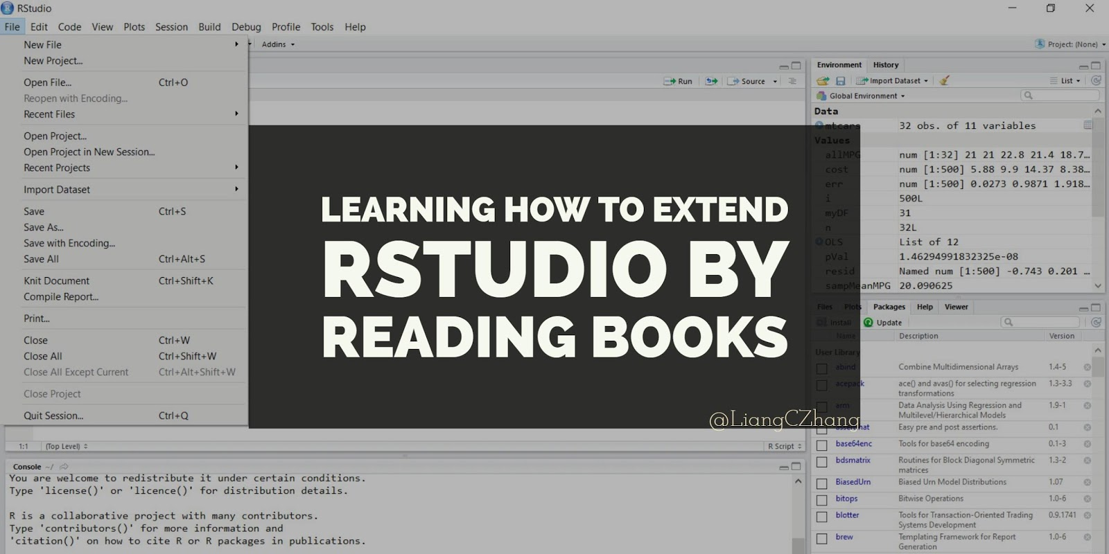 Learning how to extend #RStudio by reading books