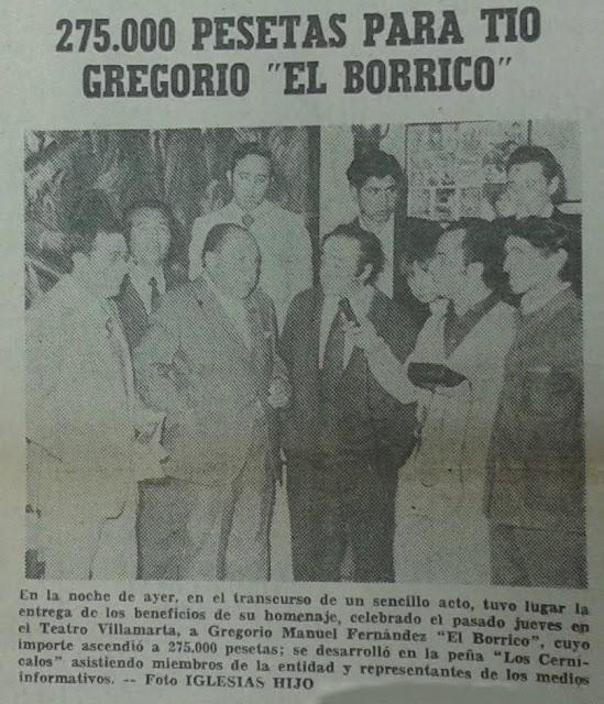 Homenaje a Tío Gregorio El Borrico en Jerez de la Frontera 1975
