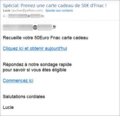 Carte Cadeau Fnac Auchan.Spam Phishing Abonnement Cache Arnaque A La Carte