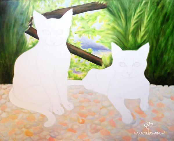 pintando cuadro de gatos con oleos