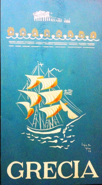 Vintage Greek travel poster by Spiro Bassiliou 1957