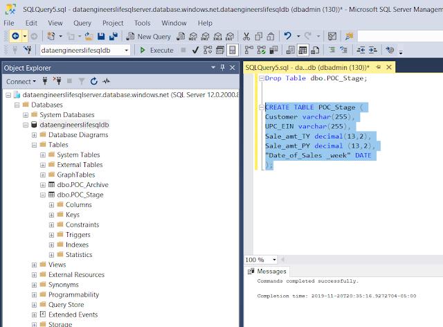 Creating Table in SQL Server Management Studio