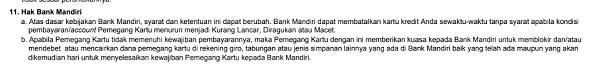 hak bank mandiri terkait kartu kredit dan rekening tabungan tertulis di lembar tagihan