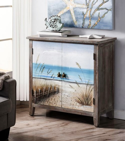 Beach Theme Key West Painted Chest Cabinet