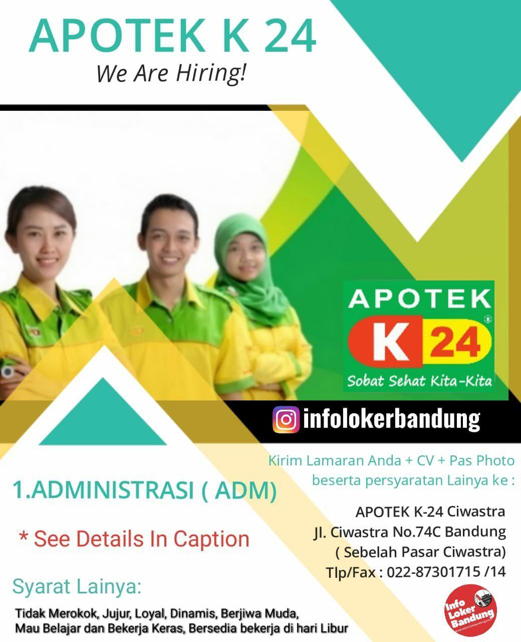 Lowongan Kerja Apotek K-24 Ciwastra Bandung September 2019