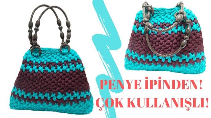 Penye ipten çanta yapımı | Penye ipinden şık örgü plaj çantası yapımı - İzle öğren Satın Al