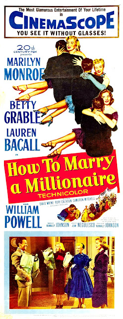 HOW TO MARRY A MILLIONAIRE. Insert: 36 x 91 cms. Estados Unidos. CÓMO CASARSE CON UN MILLONARIO. How to Marry a Millionaire. 1953. Estados Unidos. Dirección: Jean Negulesco. Reparto: Marilyn Monroe, Betty Grable, Lauren Bacall, William Powell, Rory Calhoun, David Wayne, Fred Clark, Cameron Mitchell, Alexander D'Arcy.