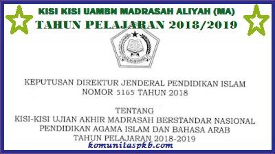 Kisi - Kisi UAMBN Madrasah Aliyah Tahun Ajaran 2018/2019
