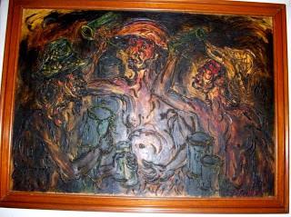 """Pelukis : Afandi Tahun: 1977 Judul : """" Minum Tuak """" Ukuran : 95cm X 135cm Media : Oil on Canvas"""
