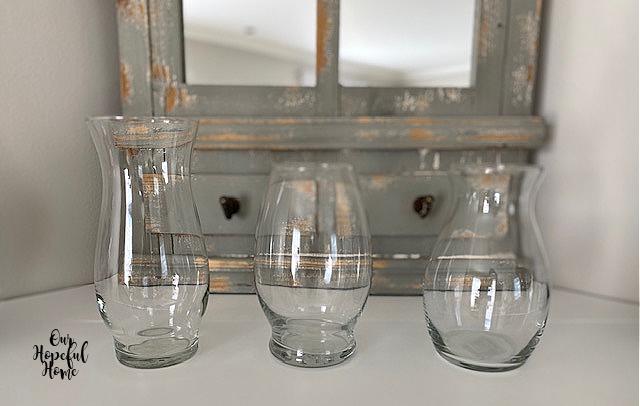 three Wal-Mart Dollar Tree glass vases