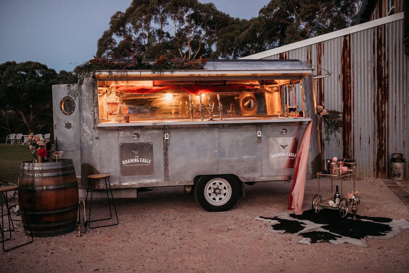 wolf and wildflower photography rustic vintage mobile wedding caravan bar hire newcastle
