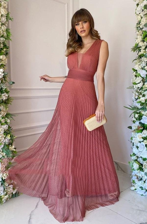 vestido longo rosa antigo para madrinha de casamento