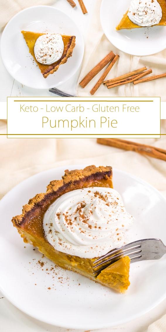 Low Carb Pumpkin Pie #Pumpkin #Pie #Keto #LowCarb #GlutenFree #Healthy #Cake #Dessert