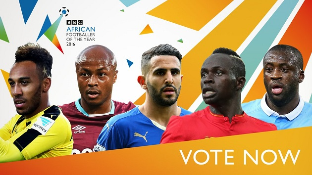 Image result for Pierre-Emerick Aubameyang, Andre Ayew, Riyad Mahrez, Sadio Mane and Yaya Toure