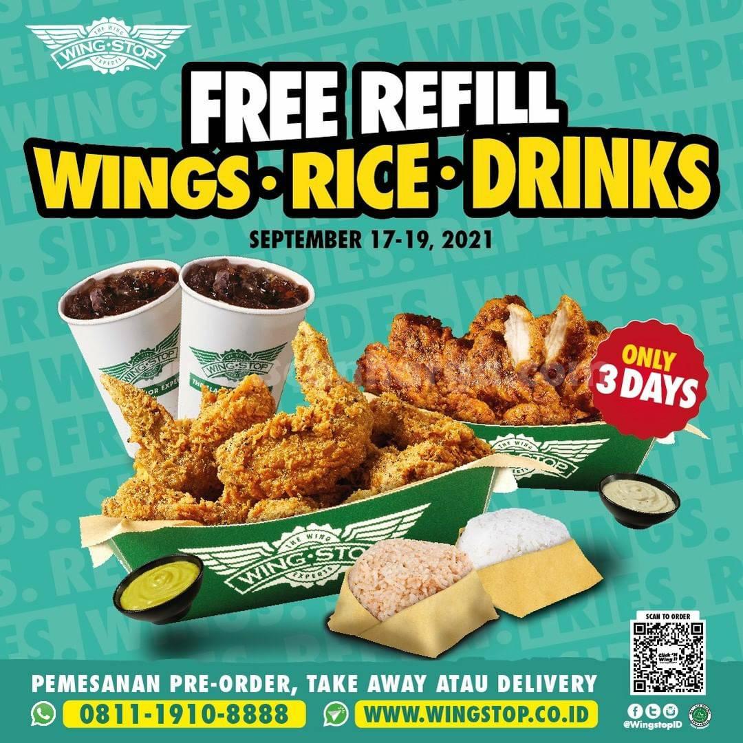WINGSTOP Promo FREE REFILL (Wings, Rice & Drinks)