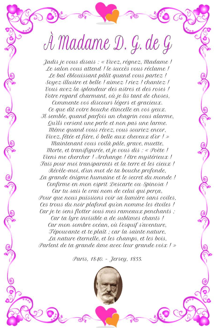 Poème À Madame D. G. de G