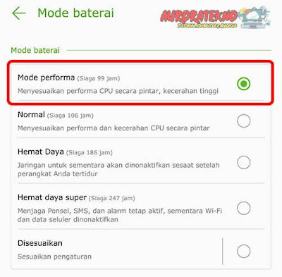 mode baterai