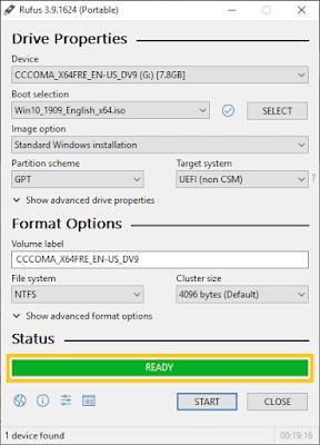Status Rufus Setelah Selesai Membuat Bootable Flashdisk