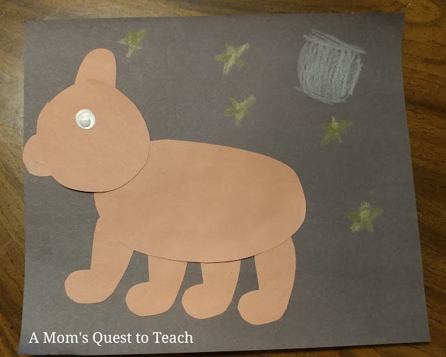 completed brown bear construction paper craft