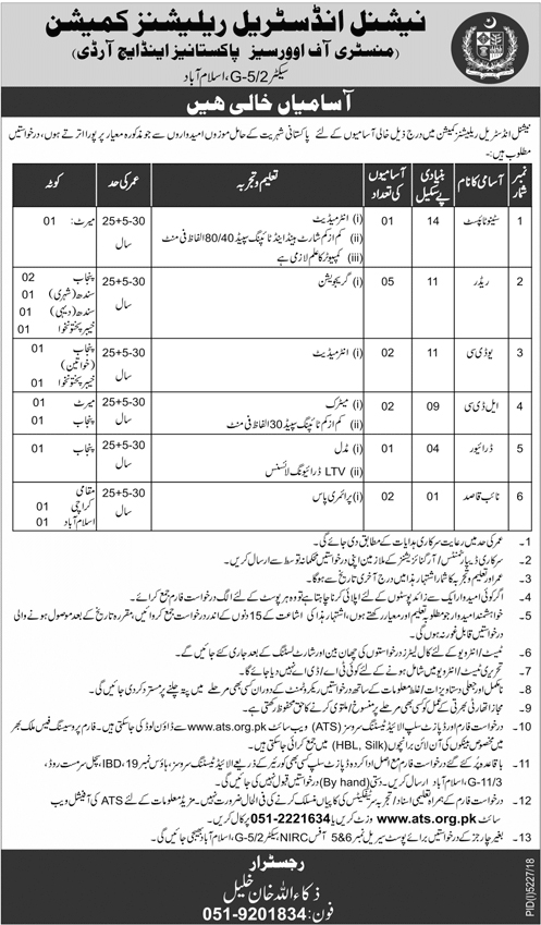 Ministry of Overseas Pakistani and NIRC Jobs 2019